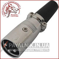 Штекер CANON (XLR) 3pin, под шнур, корпус металл, 1-0201