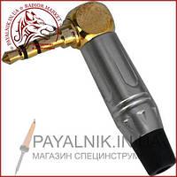 Штекер 3,5мм стерео, угловой gold, корпус металл (красный/чёрный), PowerCon