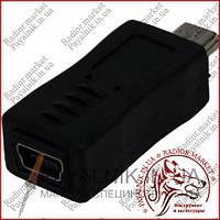Перехідник штекер micro USB - гніздо mini USB, пластик