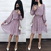Нарядное миди платье из шифона с длинными рукавами