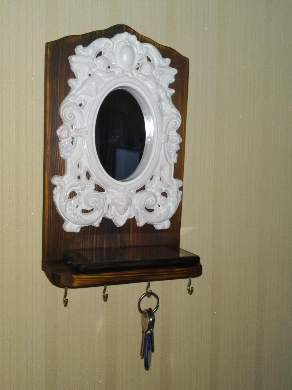 Ключниця з дзеркалом та полицею (4 гачки) | Ключница с зеркалом и полкой (4 крючка)