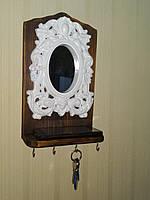 Ключниця з дзеркалом та полицею (4 гачки) | Ключница с зеркалом и полкой (4 крючка), фото 1