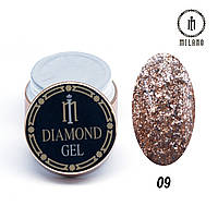 Глиттер-гель Diamond Milano 8G № 09, 8 мл, фото 1