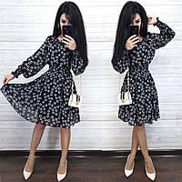 Шифоновое платье с поясом на резинке с длинными рукавами