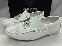 Весенне-летние кожаные белые мокасины Bertoni, фото 1