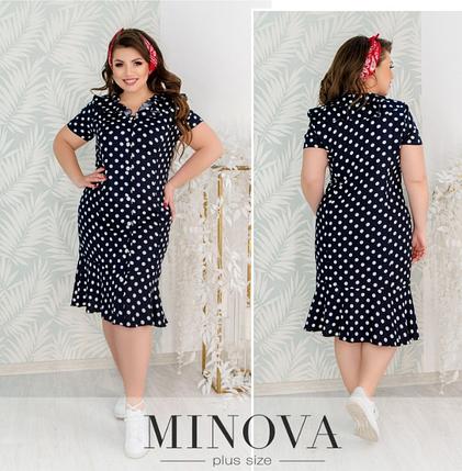Летнее платье из штапеля в горошек Minova Фабрика моды Размеры: 50.52.54.56.58.60, фото 2