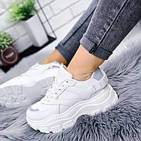 Женские стильные кроссовки на массивной фигурной подошве белый с липучкой на пятке, фото 1