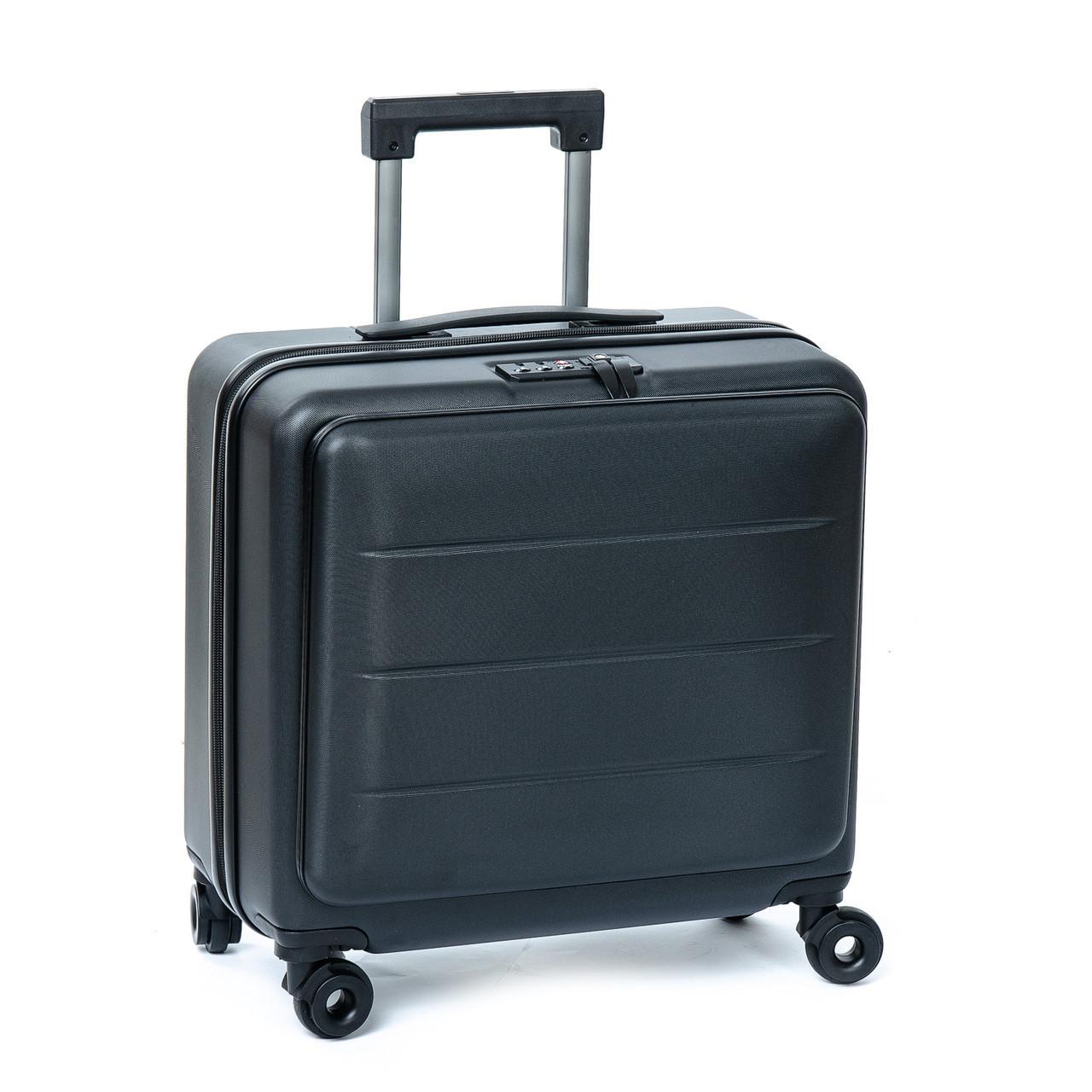 Маленький дорожный чемодан с кодовым замком на полиуретановых колесах 18 горизонт black