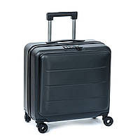 Маленький дорожный чемодан с кодовым замком на полиуретановых колесах 18 горизонт black, фото 1