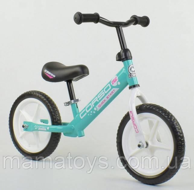 Дитячий Велобег CORSO Sprint 17008 Бірюзовий беговел сталева рама, колеса 12 дюймів EVA (піна)