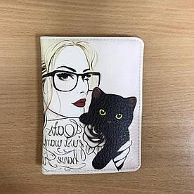 Обложка на паспорт v.2.0. Fisher Gifts 25 Девушка с котиком (эко-кожа)