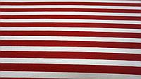 Ткань вискоза в полоску красного цвета с белым