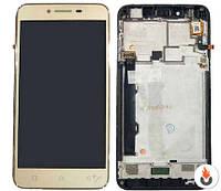 Дисплей Lenovo A6020a46 Vibe K5 Plus/ Lemon 3 с сенсором (Модуль) золотой (черный шлейф)+рамка ориги