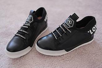 Женские кроссовки сникерсы в стиле Moschino кожа черные 37-41