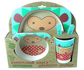 Набір дитячої бамбуковій посуду Stenson MH-2770-21 їжачок, 5 предметів