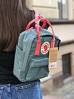 Рюкзак Fjallraven Kanken Mini Green Forest / рюкзак канкен мини зеленый с красными ручками 7л ТОП ААА+ Реплика