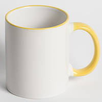 Кружка для сублимации цветной ободок и ручка 330 мл (желтый)