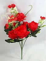 Красный букет 29см мини-пионов,искусственный куст с цветами, фото 1