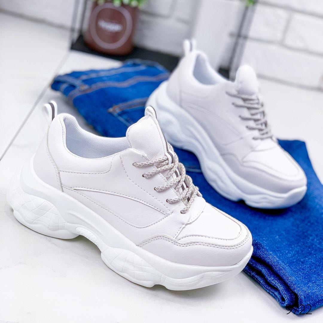 Женские кроссовки  на массивной подошве  белые