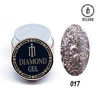 Глиттер-гель Diamond Milano 8G № 017, 8 мл, фото 1