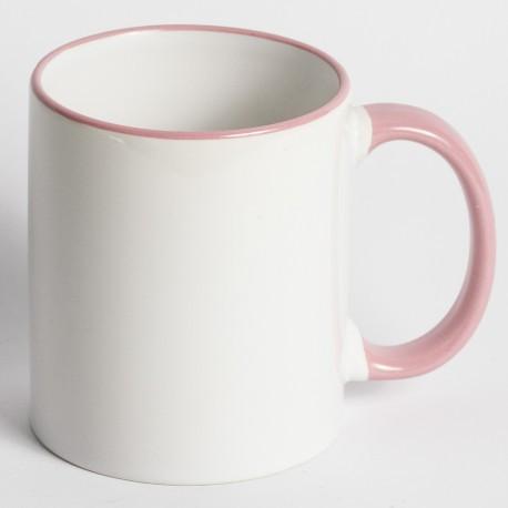 Кружка для сублимации цветной ободок и ручка 330 мл (розовый)