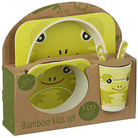 Набір дитячої бамбуковій посуду Stenson MH-2770-6 жаба, 5 предметів