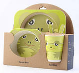 Набір дитячої бамбуковій посуду Stenson MH-2770-6 жаба, 5 предметів, фото 2