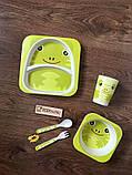 Набор детской бамбуковой посуды Stenson MH-2770-6 лягушка, 5 предметов, фото 3