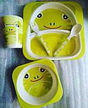 Набір дитячої бамбуковій посуду Stenson MH-2770-6 жаба, 5 предметів, фото 4