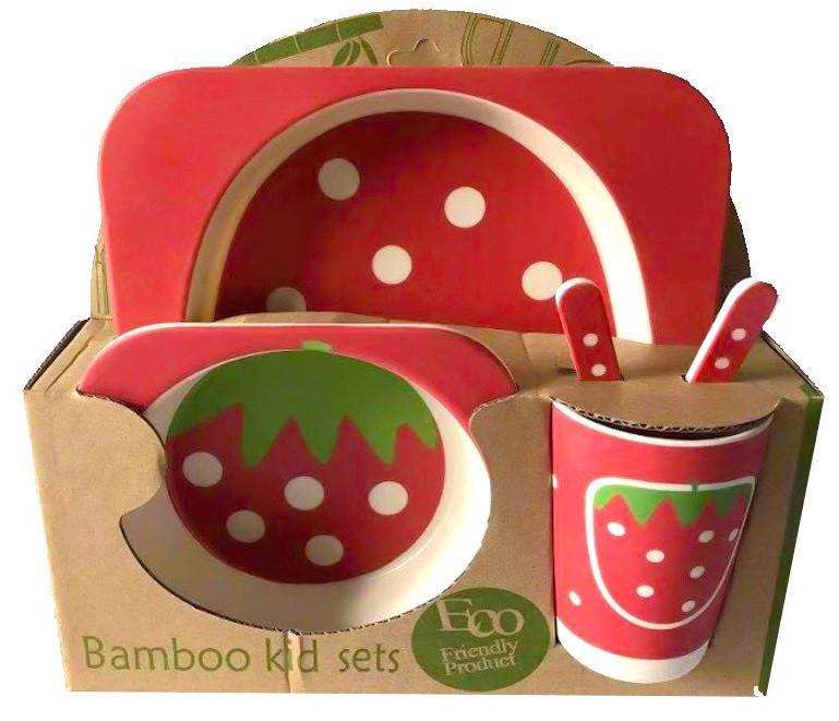 Набір дитячої бамбуковій посуду Stenson MH-2770-10 полуниця, 5 предметів