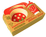 Набор детской бамбуковой посуды Stenson MH-2770-10 клубника, 5 предметов, фото 2