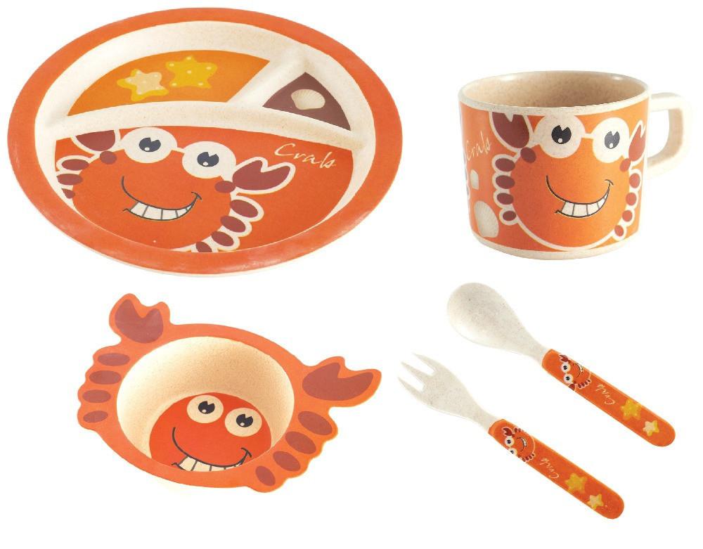 Набор детской бамбуковой посуды Stenson MH-2771-1 крабик, 5 предметов
