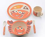Набор детской бамбуковой посуды Stenson MH-2771-1 крабик, 5 предметов, фото 3
