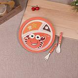 Набор детской бамбуковой посуды Stenson MH-2771-1 крабик, 5 предметов, фото 4