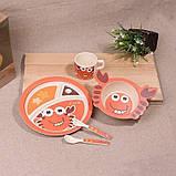 Набор детской бамбуковой посуды Stenson MH-2771-1 крабик, 5 предметов, фото 5