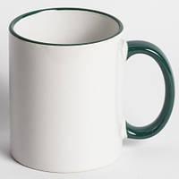Кружка для сублимации цветной ободок и ручка 330 мл (зеленый)