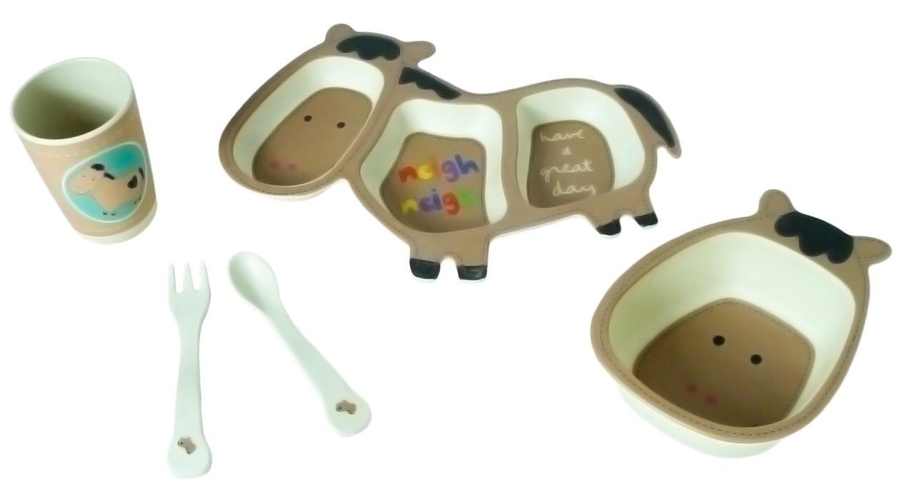 Набор детской бамбуковой посуды Stenson MH-2988 ослик, 5 предметов
