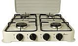 Плита газовая настольная Domotec MS 6604 на 4 конфорки, белая, фото 3