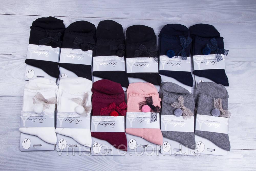 Носки женские  с бантом 12 пар в упаковке, разные цвета