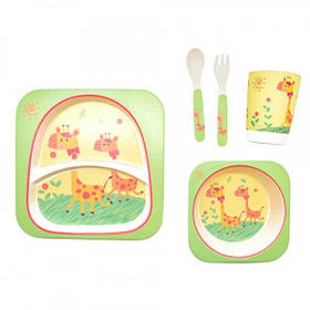 Набір дитячої бамбуковій посуду Stenson MH-2770-16 жираф, 5 предметів