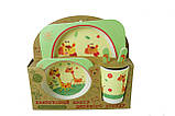 Набір дитячої бамбуковій посуду Stenson MH-2770-16 жираф, 5 предметів, фото 2