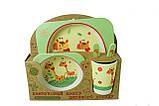 Набор детской бамбуковой посуды Stenson MH-2770-16 жираф, 5 предметов, фото 2