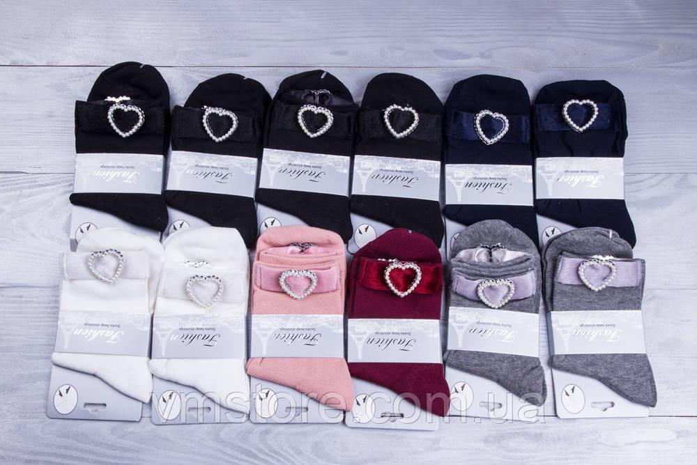Шкарпетки жіночі з аплікацією серці 12 пар в упаковці, різні кольори
