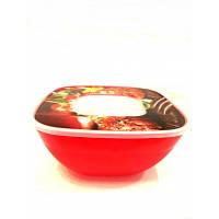 Миска с крышкой с декором 2,5 л, цвета в ассортименте, фото 1