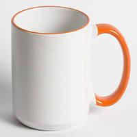 Кружка для сублимации цветной ободок и ручка 425 мл (Оранжевый)