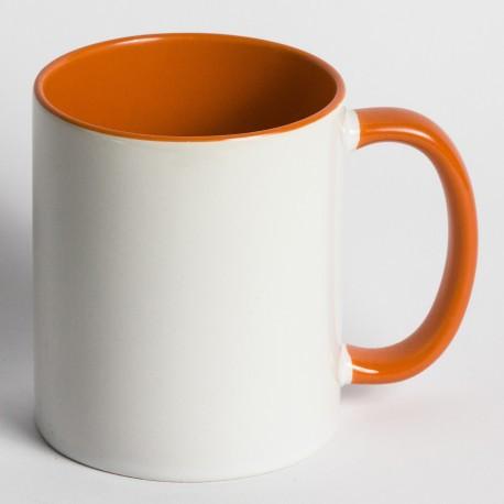 Кружка для сублимации цветная внутри и ручка 330 мл (оранжевый)