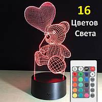 3D Светильник 👉Мишка с сердцем👉. 1 Светильник - 16 разных цветов света, Необычный подарок ребенку