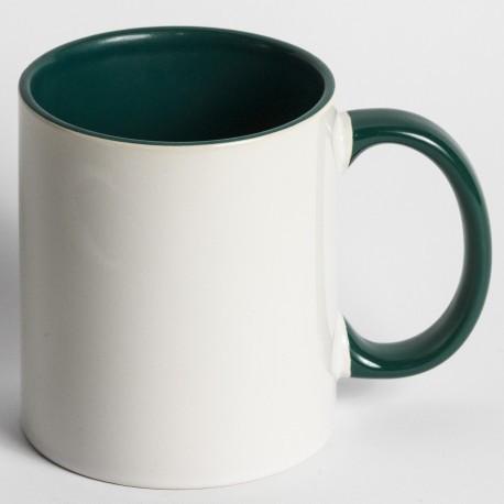 Кружка для сублимации цветная внутри и ручка 330 мл (зелёный)