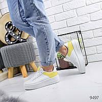 Женские белые кроссовки с желтыми вставками, хит продаж, ОВ 9497, фото 1
