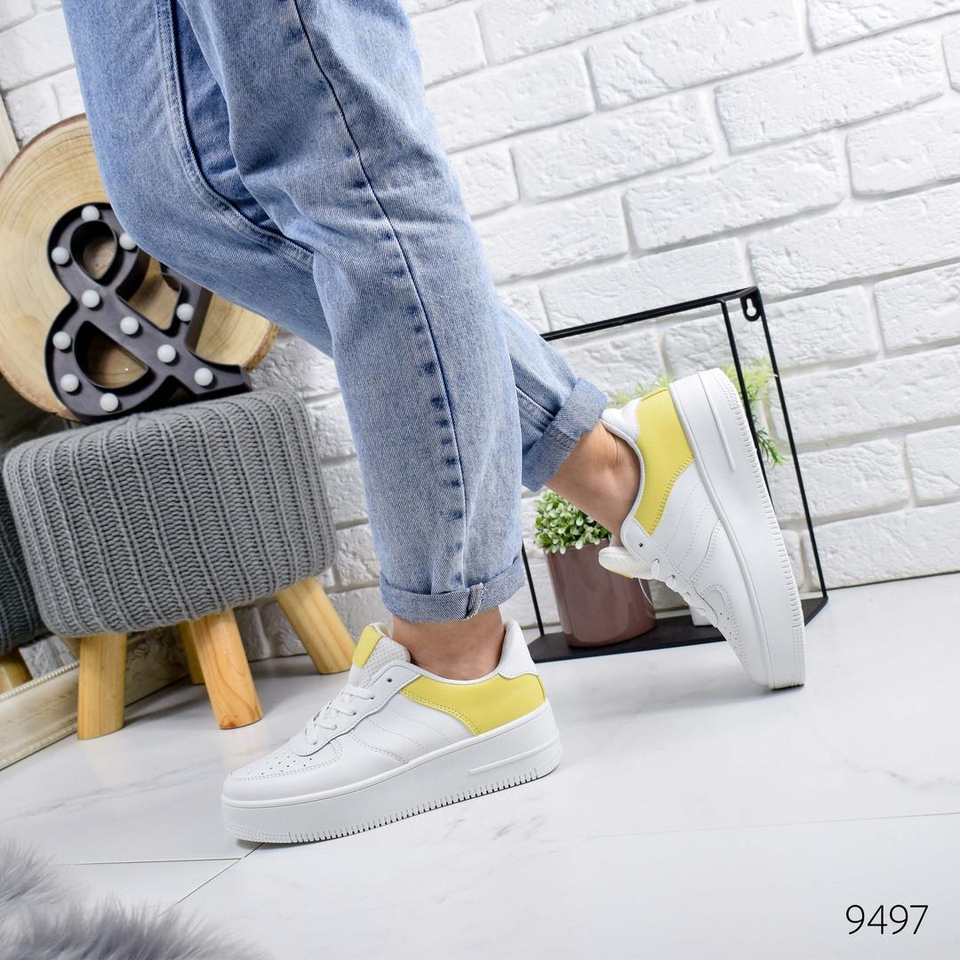 Женские белые кроссовки с желтыми вставками, хит продаж, ОВ 9497